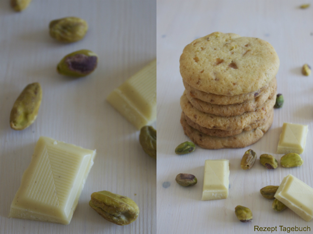 Kekse mit Pistazien Mandeln und weißer Schokolade gesüßt mit Xylit
